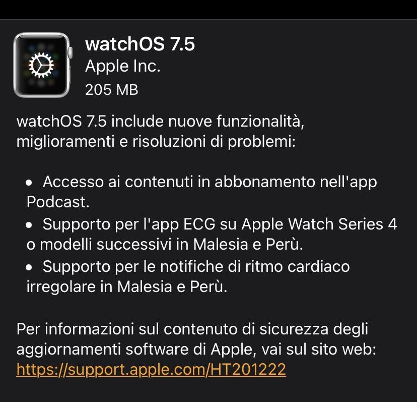 Disponibile watchOS 7.5 con supporto Apple Card Familiy e abbonamenti podcast