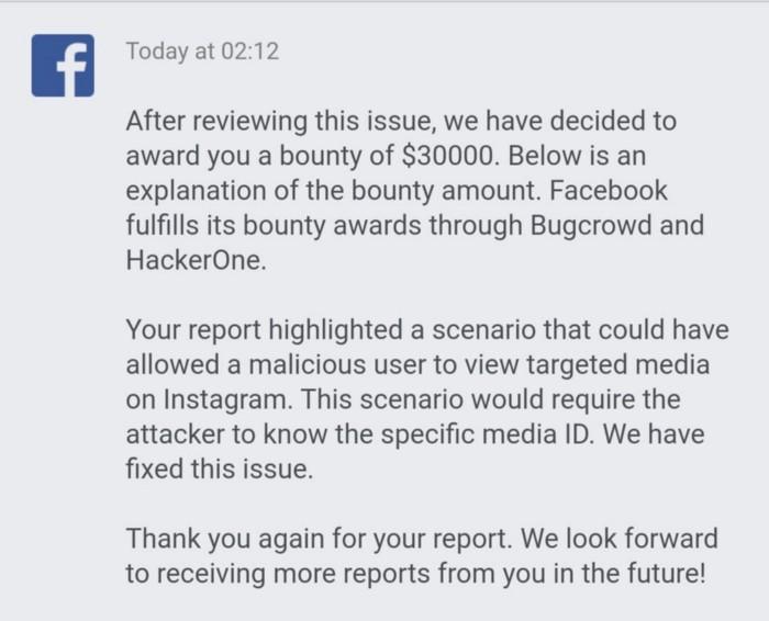 Facebook, ricompensa da 30.000$ per un bug che riguardava Instagram