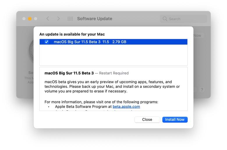 Terza beta di macOS Big Sur 11.5 agli sviluppatori
