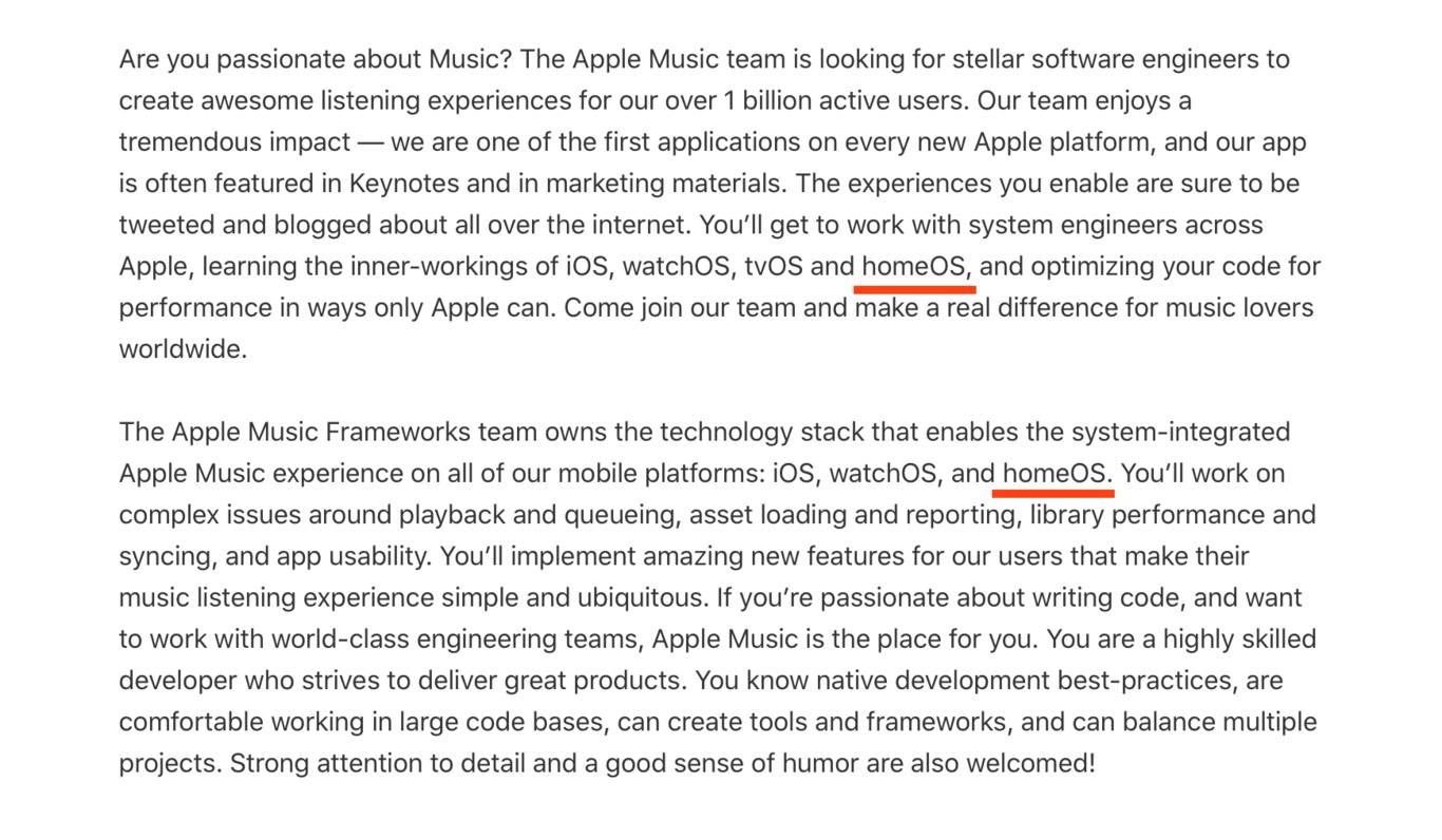 """In un annuncio di lavoro Apple si parla di """"homeOS"""""""