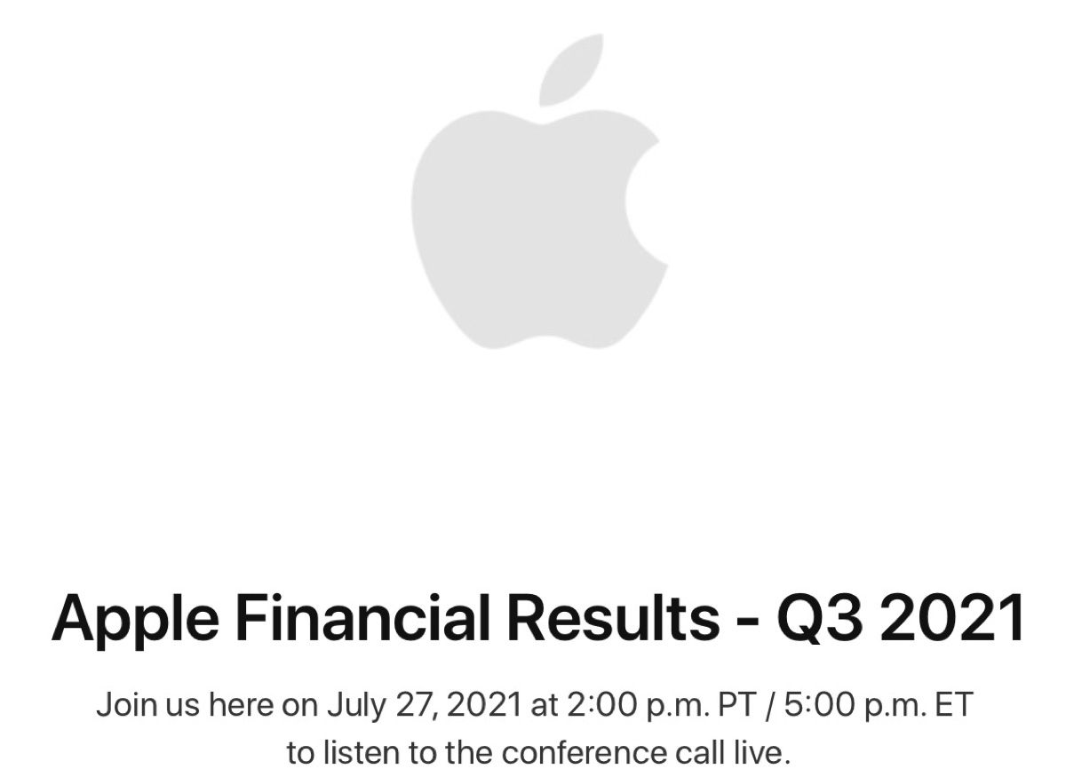 Apple presenterà i risultati del terzo trimestre 2021 il 27 luglio