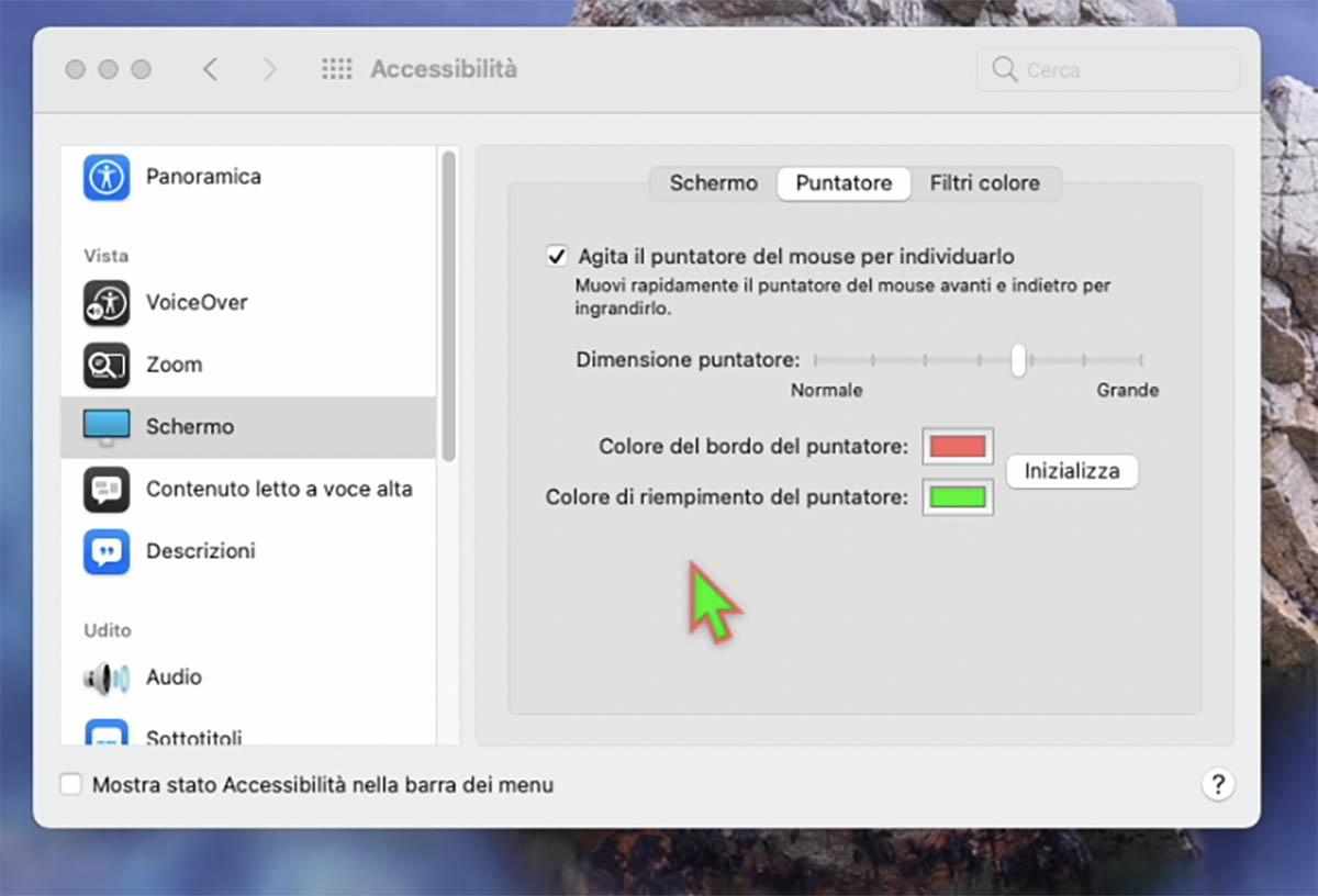 In macOS Monterey si potrà cambiare il colore del cursore del mouse