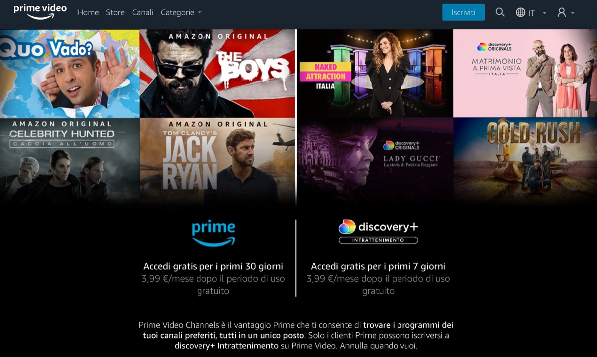discovery plus amazon prime video channels