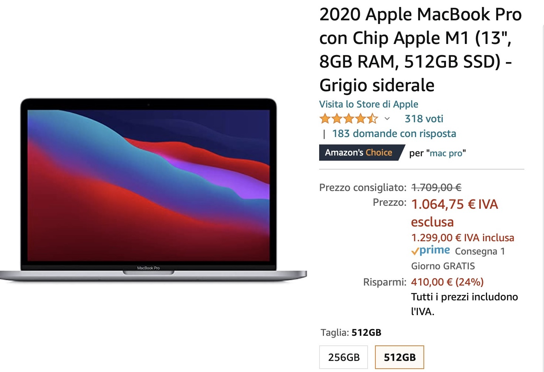 Risparmiate 410 € su MacBook Pro M1: 1299 euro