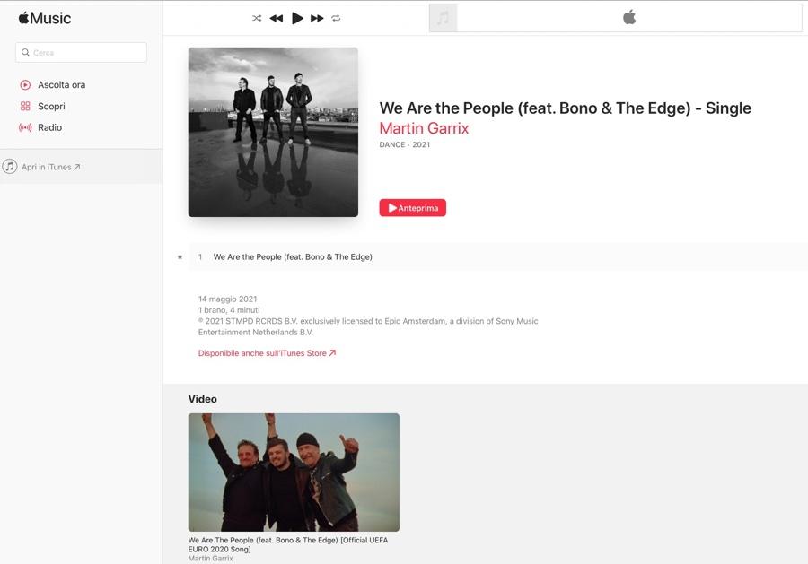 UEFA 2021, il brano ufficiale We Are the People è su Apple Music