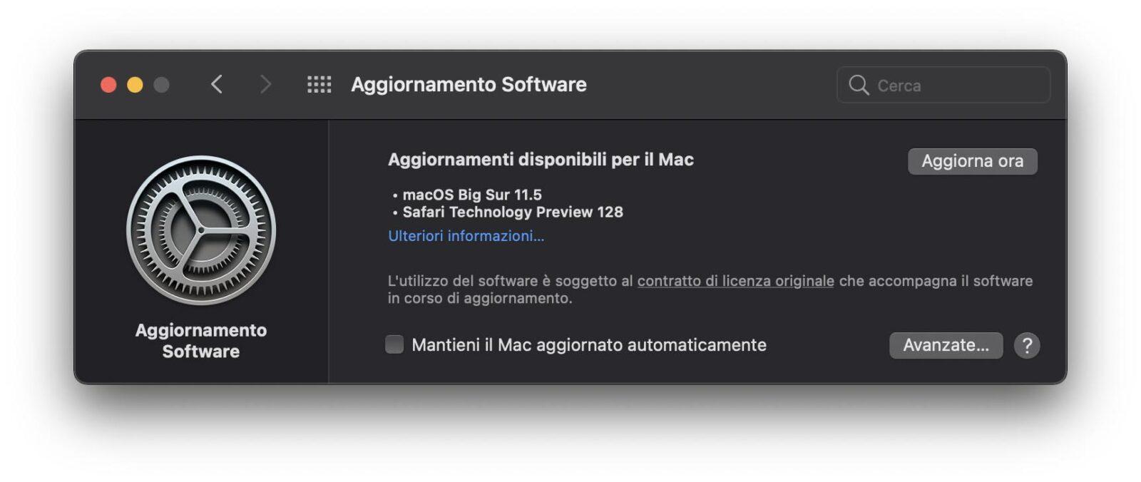 Disponibile aggiornamento a macOS Big Sur 11.5