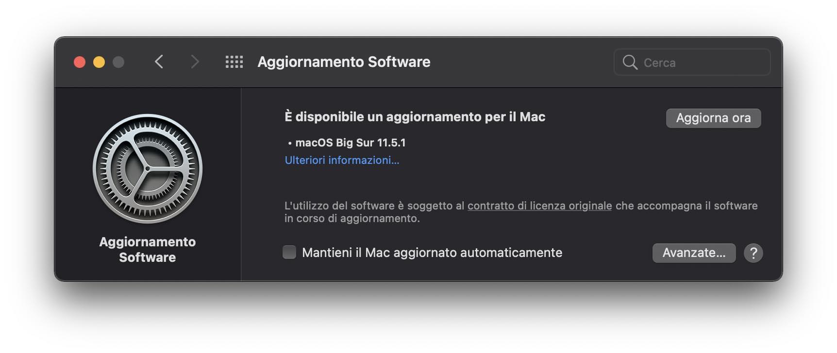 Disponibile aggiornamento a macOS Big Sur 11.5.1