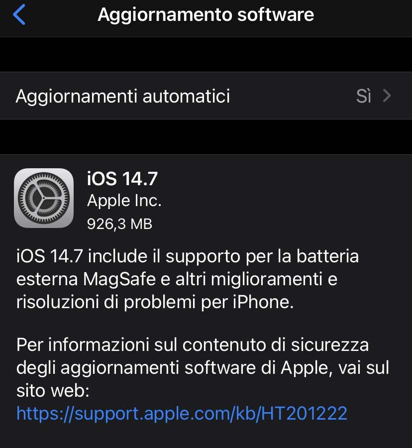 Apple ha rilasciato aggiornamenti a iOS 14.7 e iPadOS 14.7