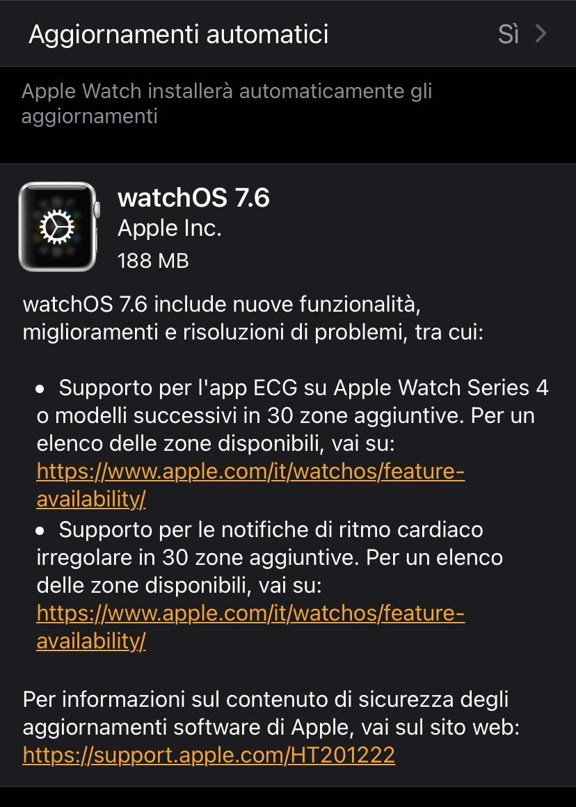 Disponibile watchOS 7.6 con ECG e  notifiche alla salute cardiaca in nuove nazioni