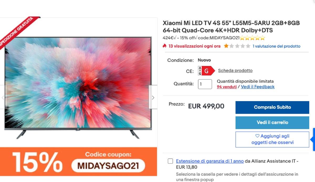 Affrettatevi, Xiaomi TV 55 pollici a solo 449 euro su eBay