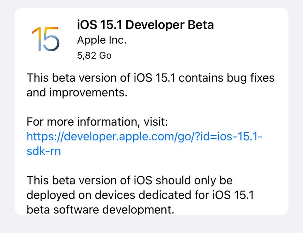 Prima beta di iOS 15.1 e iPadOS 15.1 agli sviluppatori