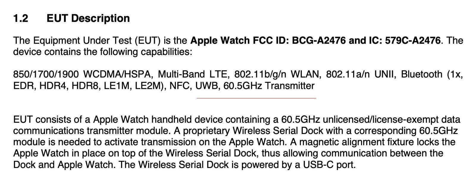 Apple Watch 7 supporta il trasferimento wireless 60.5GHz ma solo per uso interno