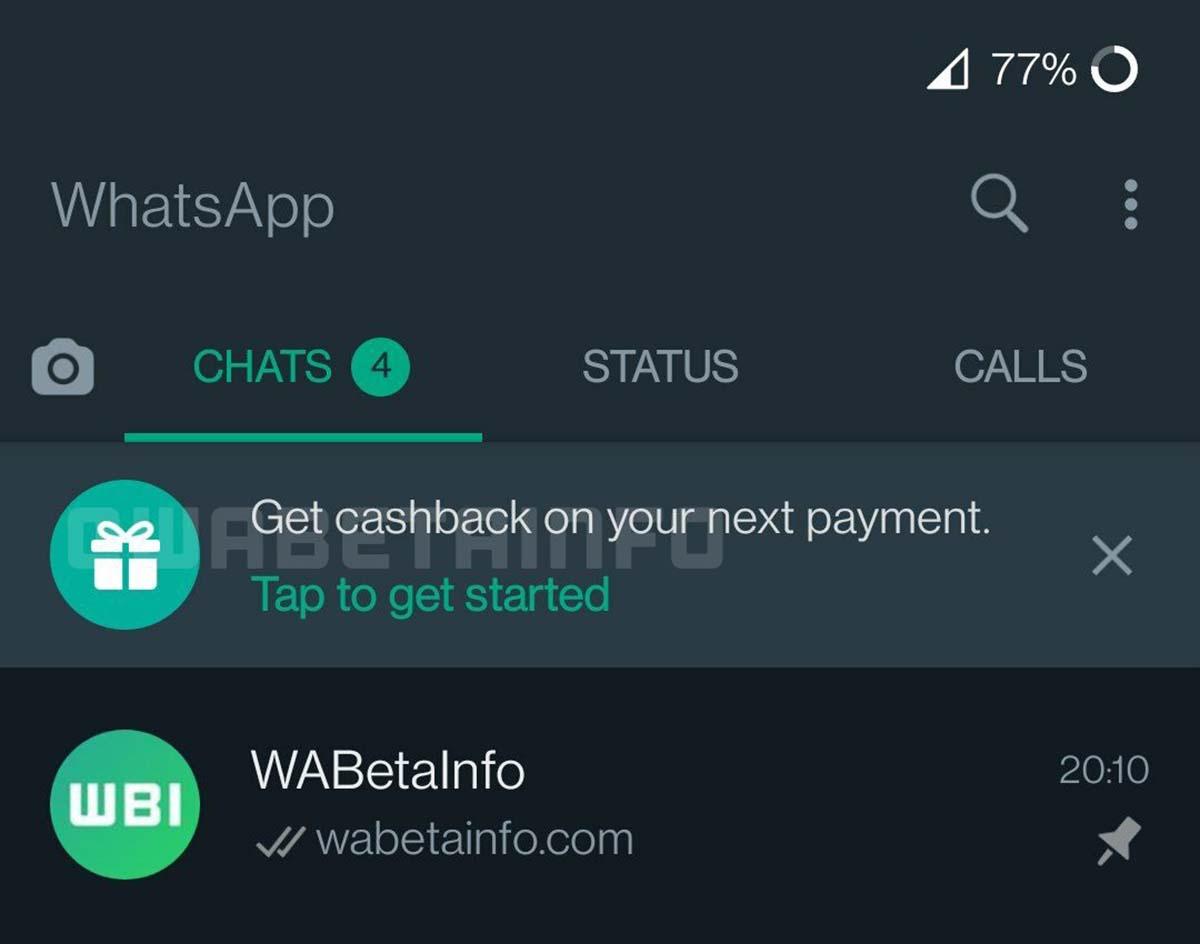 I pagamenti WhatsApp permetteranno di guadagnare con il cashback